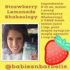 Thirsty Thursday!!  Strawberry lemonade smoothie Shakeology recipe!  Super refreshing!