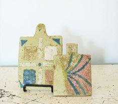 Vintage Artist Handmade Tile Trivet Set Abstract Art Studio