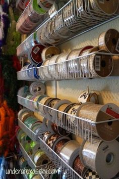 ribbon storage, craft rooms, crafts, diy, organizing, shelving ideas, storage ideas