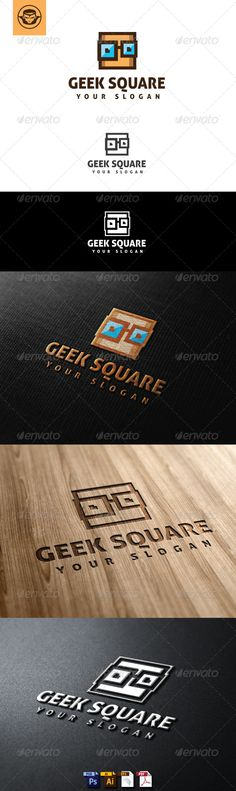 Geek Square Logo Template suitable for online business, website, blog, media, club, school or anything related to computer and digital.