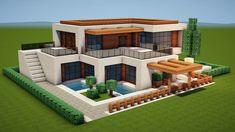 Villa Minecraft, Minecraft Modern Mansion, Minecraft House Plans, Minecraft Structures, Minecraft Cottage, Easy Minecraft Houses, Minecraft House Tutorials, Minecraft Houses Blueprints, Minecraft House Designs