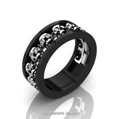 Mens Modern 14K Black and White Gold Diamond Skull Channel Cluster Wedding Ring R913-14KBWGD | Art Masters Jewelry