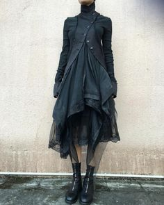 Marc Le Bihan | Double Layers Jacket And Skirt Guidi | Front Zip Horse Leather Boots