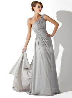 A-Linie/Princess-Linie One-Shoulder-Träger Watteau Schleppe Chiffon Abendkleid mit Rüschen Perlen verziert (017002625) - JennyJoseph
