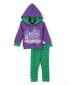 This Purple & Green Mermaid Hoodie & Leggings - Infant, Toddler & Girls by Lady's World is perfect! #zulilyfinds