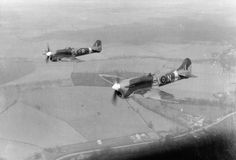 """uss-edsall: """" A Hawker Tempest V (foreground) and Hawker Typhoon of No 486 Squadron, Royal New Zealand Air Force based at Castle Camps airfield, Cambridgeshire. Air Fighter, Fighter Pilot, Fighter Jets, Fighter Aircraft, Air Force Aircraft, Ww2 Aircraft, Hawker Tempest, Hawker Typhoon, Aircraft Photos"""