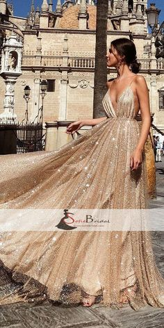 Spaghetti Deep V-neck A-line Sequin Tulle Prom Dresses, Gorgeous Sparkle Prom Dresses, PD0455