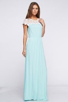 Short Sleeve Ivory Lace Paneled Maxi Dress | Jane