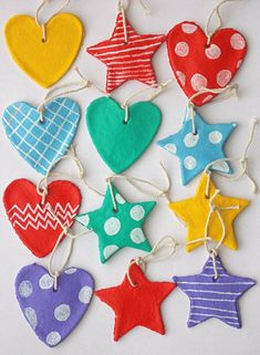 salt dough ornaments: 1c flour: 1/2c water: 1/2c salt Bake 300' or dry for 24 hours.