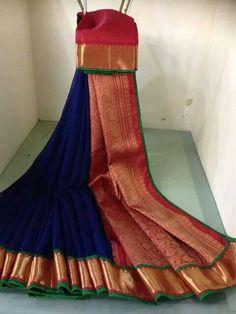 Blue Blue Silk Saree, Indian Silk Sarees, Ethnic Sarees, Soft Silk Sarees, Saree Blouse Patterns, Saree Blouse Designs, Indian Dresses, Indian Outfits, Saree Color Combinations