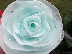Wedding Hair Flower  Aqua Mint Rose Chiffon by AnnaDelphiaBridal, $25.00