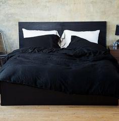 Black Montecito Washed Linen Duvet - June, Private Collection