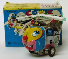 Vintage Tin Wind Up Comic Police Helicopter