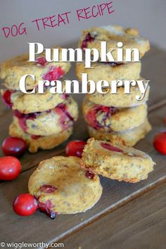 These pumpkin cranberry dog treats are soft, delicious and gluten free. Naturally sweet with a zing of fresh cranberries. Wholesome human grade ingredients, why not try one yourself? Pumpkin Dog Treats, Diy Dog Treats, Healthy Dog Treats, Soft Dog Treats, Natural Dog Treats, Dog Biscuit Recipes, Dog Treat Recipes, Dog Food Recipes, Homemade Dog Cookies
