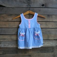Vintage Children's Blue Dress with Pink Gingham Trim & by vintapod