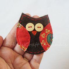 Owl Applique,Fabric Owl, Owl Embellishment, Scrap Fabric Owl, Scrapbook Owl