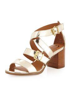 Calico Mid-Heel Sandal, Gold