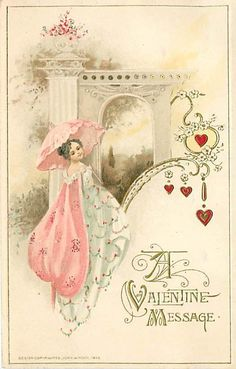 Valentine's Day Girl with Pink Parasol mailed 1914