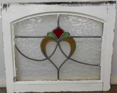 "OLD ENGLISH LEADED STAINED GLASS WINDOW Fabulous Heart Arch Design 21.5"" x 18"""