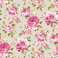 Bavlněná látka Velké květy na krémové De luxe, digitální tisk