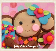 Tropical Monkey Cake Topper detail