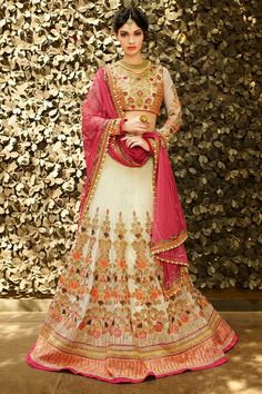#AndaazFashion presents Cream Art Silk Lehenga Choli and Net Dupatta   http://www.andaazfashion.fr/womens/lehenga-choli/bollywood-lehenga-choli-cream-art-silk-chaniya-choli-andaaz-fashion-dmv8513.html