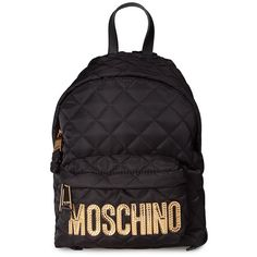 Moschino Logo Lettering Nylon Mini Backpack (£355) ❤ liked on Polyvore featuring bags, backpacks, nero, moschino bags, miniature backpack, faux-leather bags, mini backpack and zip bag