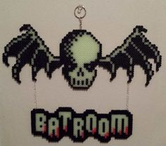 Bat skull and Batroom sign in Perler Beads.