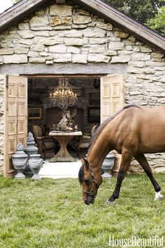From a barn reimagined as a library to a stone cottage for entertaining, an Illinois estate brims with delights, thanks to Annie Brahler-Smith Living Haus, Stone Cottages, Stone Houses, Into The West, Stone Barns, Dream Barn, Dream Stables, Horse Stables, She Sheds