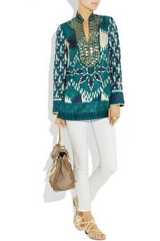TORY BURCH  Iveta embellished silk-habotai tunic  $395