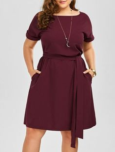 $11.97  Plus Size Belted Knee Length Dress With Pockets in Wine Red | Sammydress.com