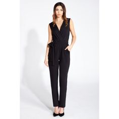 Vince Camuto Women's V-Neck Faux Wrap Jumpsuit, Black, 14 Wrap Jumpsuit, Black Jumpsuit, Vera Mont, See By Chloe, Jumpsuits For Women, Nice Dresses, To My Daughter, Latest Trends, Summer Outfits