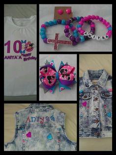 Custom birthday t shirt, jewelry, hair bow & vest