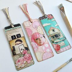 Turned out more like this, but still not as cute. Mixed media bookmarks using persnickety prints. By Aaron from Everyday is a Holiday: Paper Serviettes, Card Sentiments, Paper Crafts, Diy Crafts, Paper Tags, Art Journal Inspiration, Altered Books, Tag Art, Bookmarks