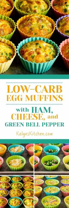 I've been making Low-Carb Egg Muffins like this since 2005 for a quick grab-and-go breakfast, and these Egg Muffins with Ham, Cheese, and Green Bell Pepper are one of my favorite combinations. The post also has a link to my basic instructions for egg muffins if you want to experiment with different combinations!  [found on KalynsKitchen.com]