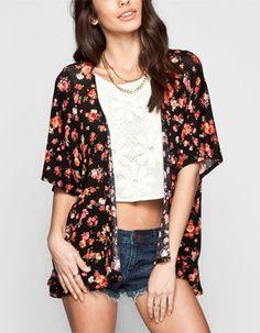 FULL TILT Floral Print Womens Kimono
