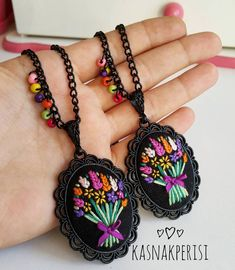 This post was discovered by TC Hand Embroidery Dress, Embroidery Jewelry, Hand Embroidery Designs, Ribbon Embroidery, Cross Stitch Embroidery, Embroidery Patterns, Pendant Design, Fabric Jewelry, Polymer Clay Jewelry
