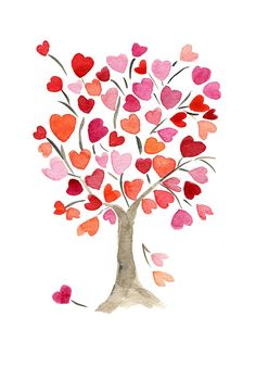 The Hearts Tree Art Print of original watercolor painting, anniversary, valentine day, birthday Valentines Sale, Valentine Tree, Little Presents, Heart Tree, Art Plastique, Tree Art, Watercolor Paintings, Watercolor Heart, Watercolor Print