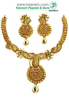 22K Gold Antique Necklace & Ear Hangings Set with Stones & Beads