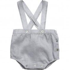 Purete Du... Bebe Baby Boys Grey Linen Bubble Shorts with Braces at Childrensalon.com