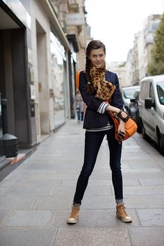 Rue Saint Honore, Paris. The Sartorialist. The braid, the stance, the jacket.
