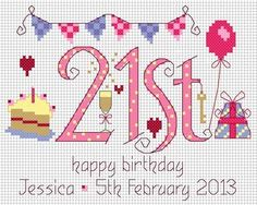 21st Birthday Cross Stitch Kit from Nia from £16.95