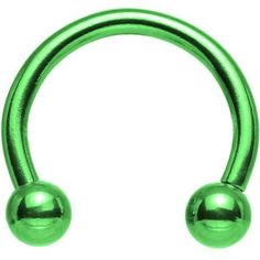"""14 Gauge Apple Green Anodized Titanium Horseshoe Circular Barbell 1/2"""" ❤ liked on Polyvore featuring jewelry, green jewelry, titanium jewelry, green jewellery and circle jewelry"""