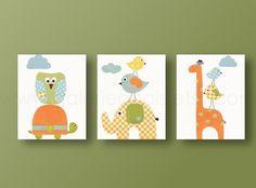 Lot de 3 illustrations pour chambre d'enfant et bebe, chambre garcon, : Décoration pour enfants par galerie-anais