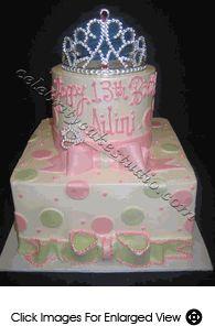 Instead of sage green, I'm thinking Tiffany Blue. -- Girl's Birthday Cake #22-Polka Dot Princess