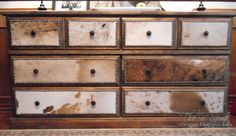 Cow-hide covered drawers in dresser re-do - cool idea for using cowhide but in a small amount - buffet, etc Cowhide Decor, Cowhide Furniture, Western Furniture, Refurbished Furniture, Shabby Chic Furniture, Rustic Furniture, Furniture Makeover, Furniture Projects, Cabin Furniture