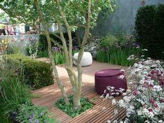 Houten flonders en groen voor een kleine tuin.. zo maak je in een kleine tuin toch een warm uitziend terras. Ik zou de boom echter vervangen door een bloesemboom of een appelboom. De houten ondergrond door ruwer/ natuurlijker hout. En de poef door verschillende zitzakken.