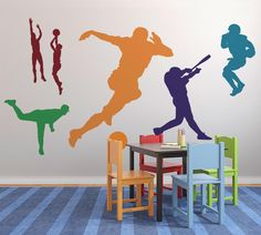 Colorful Sports Silhouettes