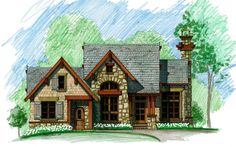 Little Bear Front Elevation -- Natural Element Homes. All bedrooms ensuite. Stone House Plans, Lake House Plans, Mountain House Plans, Dream House Plans, Cabin Plans, Small House Plans, House Floor Plans, My Dream Home, Mountain Cabins