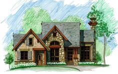 Little Bear Front Elevation -- Natural Element Homes. All bedrooms ensuite. Cottage Floor Plans, Lake House Plans, Mountain House Plans, Cottage House Plans, Dream House Plans, Cabin Plans, Small House Plans, Cottage Homes, House Floor Plans